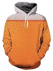 Idea Regalo - Loveternal Unisex adulto 3d birra gocciolare grafico stampa coulisse tasca compongono Pullover Felpa con cappuccio per gli uomo le donne S