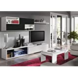 Mueble de salón comedor color blanco brillo y negro malla. Conjunto de módulo TV y estante con puertas cerrado suave. 240cm largo x 42cm fondo.