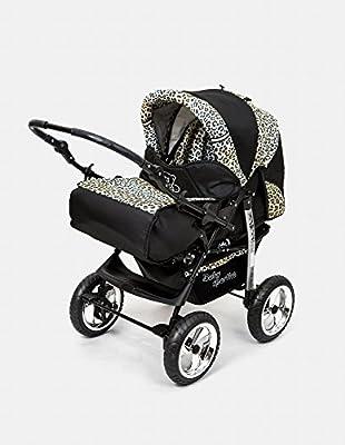 Kombi Kinderwagen Travel System Kamel 3in1 schwarz-leopard + Babyschale Autositz 0-10kg Kinderwagen Buggy Stroller Poussette
