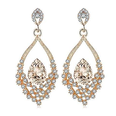 Lianjie Women's Teardrop Earring Champagne Crystal Double Cubic Zirconia (gold color)
