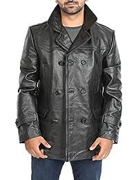 House Of Leather Hombre Chaquetón de Cuero Genuino de Pecho Doble Peacoat  Chaqueta Salcombe Negro 84d4173a908d