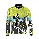 Maillots de cyclisme pour hommes, maillots de vélo de montagne à manches longues pour hommes, chemises à pour cyclistes de route, vêtements de VTT, vêtements de sport en plein air, crâne,Vert,XXXL