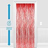 PARTY PROPZ ™ Set of 2 Metallic Red Foil Curtain Fringe Party Decoration Door Curtains, 3 x 6 Feet