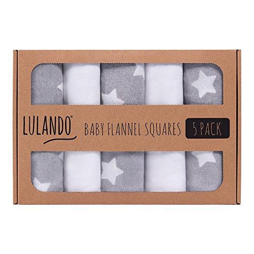 LULANDO Stoffwindeln und Moltontücher 70x80cm (5er Set). Waschbare Windeln und Spucktücher für Ihr Baby. Farbe: Weiße Sternchen - Grau