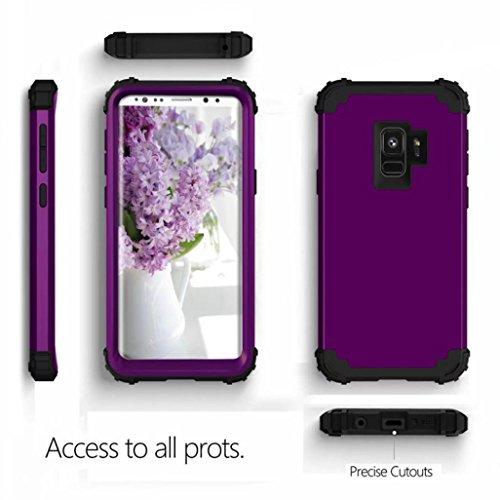 MuSheng For Samsung Galaxy S9 Hülle,Für Samsung Galaxy S9 5,8 Zoll Rüstung Fall Hybrid 3 Schichten Gummi Fall Super luxuriöse Soft Hülle (Lila) (Gummi-iphone Fall 4 Schwarzer)