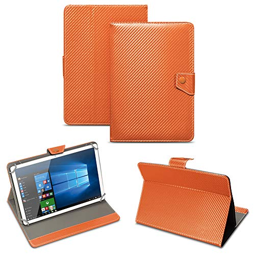 NAUC Universal Tablet Tasche mit Standfunktion Hülle für Blaupunkt Endeavour 101M 101G 101L Tablet Schutztasche in Edler Carbon-Optik Schutzhülle Cover Case, Farben:Bronze