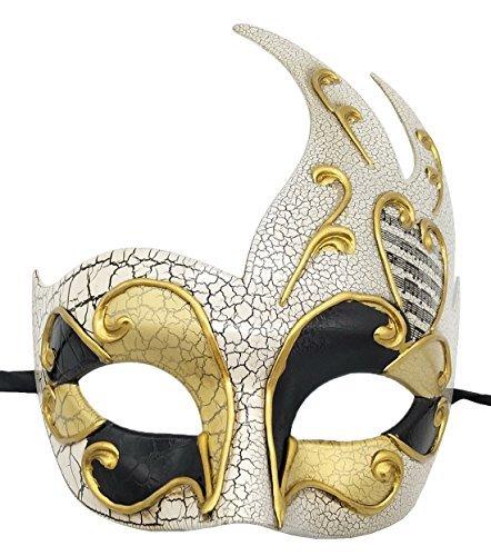 Herren Maskerade Maske Vintage Rissig Venetian Party Maske Halloween Mardi Gras Maske (Gold)