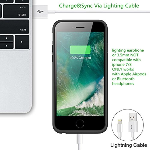 Cover Batteria iPhone 8/6/6S/7, iPosible 6000mAh Custodia Ricaricabile con Batteria Esterna Caricabatterie Cover Battery Case per Apple iPhone ...