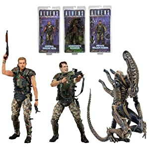 NECA ALIENS SERIES 1 ACTION FIGURE SET of 3 - XENOMORPH WARRIOR, MARINES - HICKS, HUDSON 6