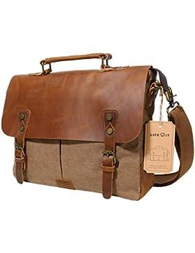 [Gesponsert]Lifewit Herren Vintage Umhängetasche 14 Zoll Laptoptasche Messenger Bag Aktentasche Schultertasche Arbeitstasche...