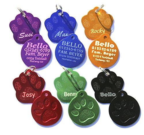 Dogidogs Hundemarke mit Gravur 2 Stück - Motiv Pfote - Verschiedene Farben mit Schlüsselring - beidseitige Gravur (Rot)