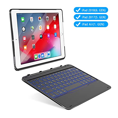 """Yoozon 9,7"""" iPad Bluetooth Tastatur Hülle für 9.7"""" iPad 2017(5. Gen)/2018(6. Gen), iPad Air 1, mit 7 Hintergrundbeleuchtungen, abnehmbare Schutzhülle, deutsches QWERTZ Layout Keyboard(Schwarz)"""