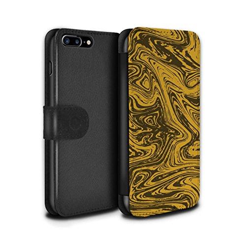 Stuff4 Coque/Etui/Housse Cuir PU Case/Cover pour Apple iPhone 7 Plus / Rouge/Rose Design / Effet Métal Liquide Fondu Collection Or