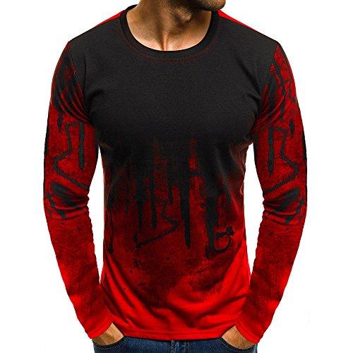 TWIFER Männer Farbverlauf Langarm Beefy Muscle Basic Herren Sweatshirt Bluse