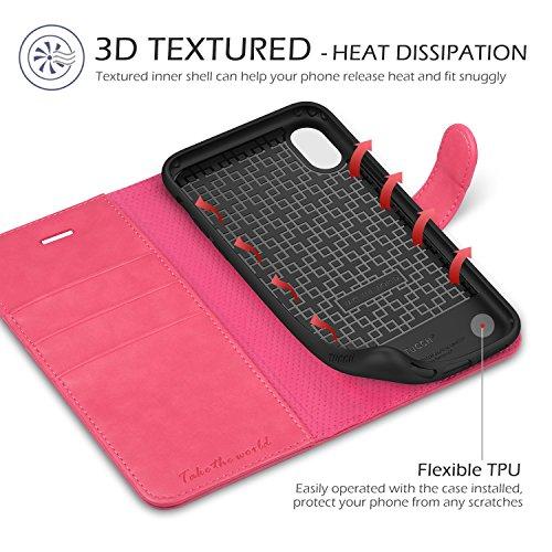 iPhone X Hülle, TUCCH Lederhülle für iPhone X/iPhone 10 (5.8 Zoll), Flip leather case mit [TPU Innenschale] [Stander] [Kartenfach] [Magnetverschluss], Vintage-Still aus kunstleder in Book-style, Braun Pink