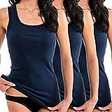 HERMKO 1325 3er Pack Damen Longshirt ideal für drüber und drunter (Weitere Farben), Farbe:Marine, Größe:36/38 (S)