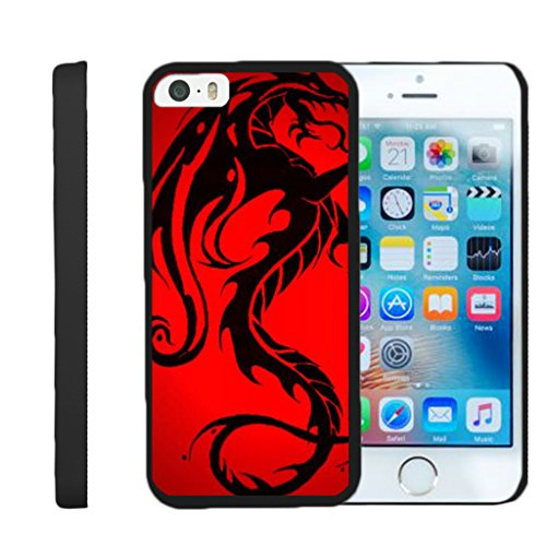 turtlearmor | Kompatibel für Apple iPhone SE Fall | iPhone 5/5S Fall [Slim Duo] Zwei Stück Hard Cover Slim Clip auf Fall auf Schwarz -, Red Dragon (Iphone Mobile Virgin 5s-schwarz)
