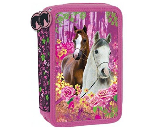Pferd Einhorn Pony Horses 44 x TEILE 3-Stock Dreistöckige FEDERTASCHE FEDERMAPPE + Sticker von Kids4shop Federmäppchen