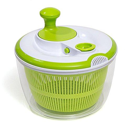 HÜLLR Premium Salatschleuder mit Dressing/Öl Auslauf & Abtropfgestell BPA-frei