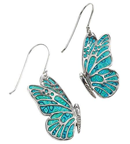 Boucles d'Oreille Papillon Pendantes - Bijoux en Argent fin 925 et Fimo Fait Main Turquoise