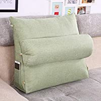 Solid Color Triangle Cotton Cushion, Sofa Bedside Office Chair Special Cushion, Cover Removable and Washable, Green (60x50x20cm)
