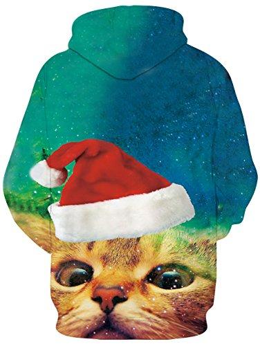 Weihnachten-Hoodie, Chicolife Herren Unisex Jumper lustige 3D gedruckte Tunnelzug Katze grafische Pullover Hoodies Santa Sweatshirts Taschen Xms Kapuzenpullover S-XXL Cat Face
