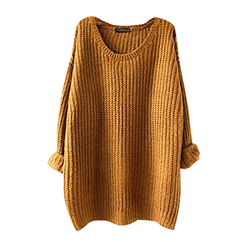 YouPue Damen Strickpulli Pullover Lang Langarm Lose Weit Geschnitten Rundhals Gestrickte Pullover Casual Tops Sweater Grob Strick Frauen