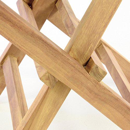 DIVERO 2er-Set Klappstuhl Teakstuhl Gartenstuhl Teak Holz Stuhl für Terrasse Balkon Wintergarten witterungsbeständig behandelt massiv klappbar natur - 3