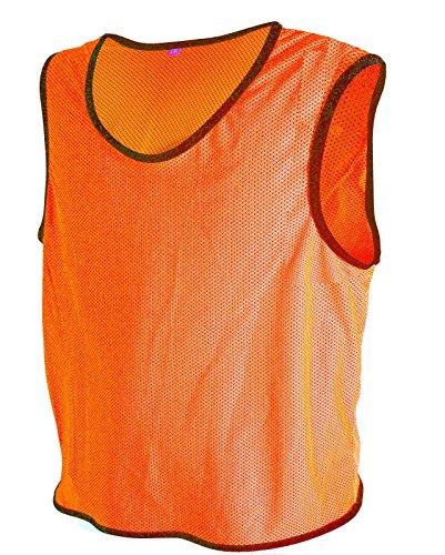 Rot Fußball Trikots (10x Fußball Leibchen Trainingsleibchen Markierungshemd Fußballleibchen Trikots (Neon Orange, XL/2XL))