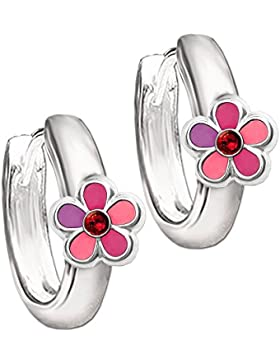 CLEVER SCHMUCK Silberne Kindercreole Ø 12 mm Blume pink rosa abgestuft mit Zirkonia rot STERLING SILBER 925 für...