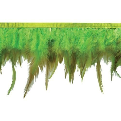Jaylo Feather Fringe Trim 13cm - 1.3cm Wide 5 Yards-Green, Green