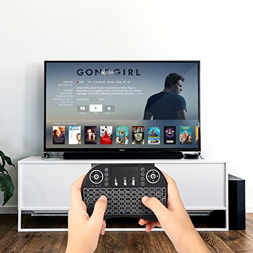 Mini drahtlose Tastatur, Wishpower 2,4Ghz mini wireless Keyboard LED Hintergrundbeleuchtung Ergonomische tastatur mit touchpad für tastatur Smart TV, Raspberry Pi 3, PC fernbedienung (weiß) - 6