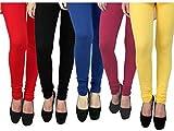 #7: Rudraksha Leggings Women's Cotton Lycra Leggings (Pack Of 5, Multicolor, Free Size)