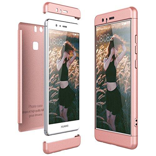 für Huawei P9 Hülle, Handyhülle 3 in 1 Ultra-dünne Anti-Kratzer Hard PC case Covers mit Stoßfänger Anti-Rutsch Matt für p9 5.2 Zoll Case Cover (Rosegold, Huawei P9)