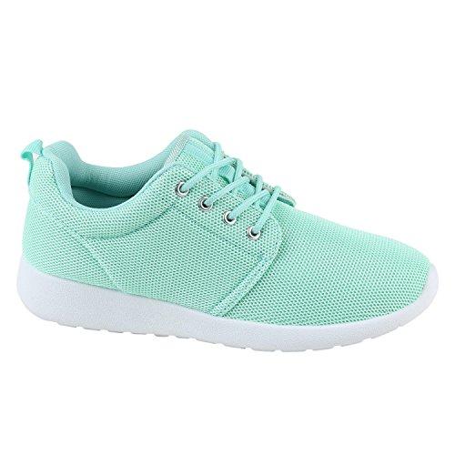 Stiefelparadies Damen Sport Neon Lauf Runners Sneakers Fitness Schnürer Prints Blumen Übergrößen Schuhe 142276 Hellgrün 36 Flandell