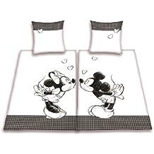 Herding 447862239 Bettwäsche Disney's Mickey/Minnie Mouse im Doppelpack ( Inhalt: 1 x Bettwäsche Minnie. 1 x Bettwäsche Mickey ). 80 x 80 cm + 155 x 220 cm. Übergröße. Linon