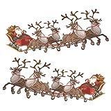 Decoration Vitrine Noel - Stickers Noel Fenetre - Deux Pere Noel et Traîneau à Rennes - Superbes Stickers Electrostatiques Décoratifs au Motif Pere Noel - Petit
