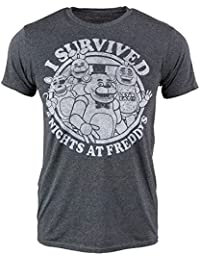 Mens I Survived Five Nights At Freddy's Game T-Shirt Charcoal
