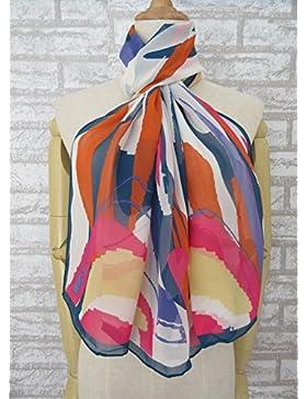 Libera a&H 100% seda Raya colorida bufanda larga