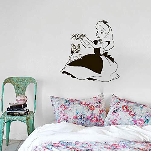 Alice im Wunderland Vinyl Wandaufkleber Cartoon Kaninchen Katze Abnehmbare Für Kinderzimmer Mädchen Schlafzimmer Dekor 57 * 59 cm ()