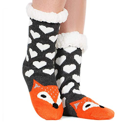 Tacobear Mujeres Gruesos lana calcetines de piso casa abrigados animal calcetines de mujeres antideslizantes calcetines de alfombra Zapatillas de casa para Mujer (Zorro)