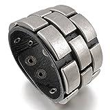 mednino Herren Breit Legierung Echtes Leder Armband Armreif Cortisches Biker Silber Schwarz verstellbar passt 19,1cm zu 21,6cm mit 1x Samtbeutel