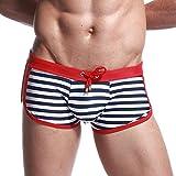 Coolster Herren Streifen Verstellbare Unterhose Schwimmen Höschen Strand Badehose Shorts atmungsaktive Bademode (M, Red)