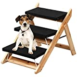 Yaheetech Folding Pet Steps Ramp for Large/Small Dogs/Cats Wooden 3 Steps Pet Access