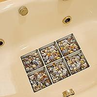 Weare Home Muscheln Muster Serie von 6 Stück Deko Design Kreativ Anti Rutsch Sticker für Sicherheit Kinder für Badewanne, je Stück 14.5×14.5cm