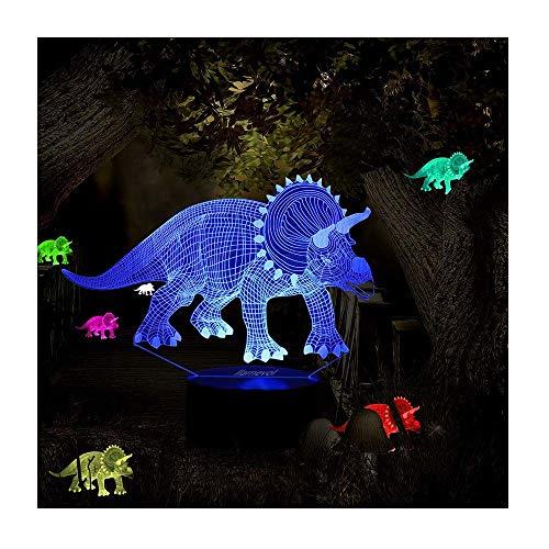 MEANS Ilusion 3D Triceratops Lámpara de luz nocturna con cambio de 7 colores, base táctil, energía por pilas AA