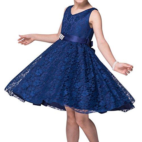 Mädchen Kinder Spitze Kleid Brautjungfer Festlich Hochzeit Kleider Abendkleid Kommunionkleid Navy Blau 140CM (Kleider Navy Kinder Brautjungfer)