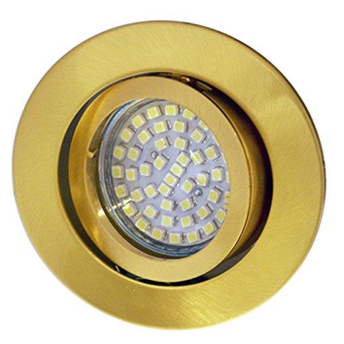 LED Einbaustrahler / Messing / Spot / Einbauleuchte / Einbauspot / schwenkbar / Goldeffekt / RUND-MESSING-14437 / GU10-230V (Warmweiß)