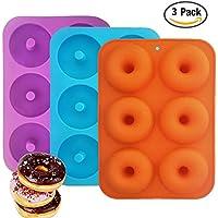 Moule à Donut,6-cavités Donut Silicone Baking Pan IHUIXINHE 3PCS Anti-adhésive Donut Pan Moule silicone pour muffins, biscuits, chocolats, glaçons, savons et etc. Bleu,Orange,Violet (Donut)