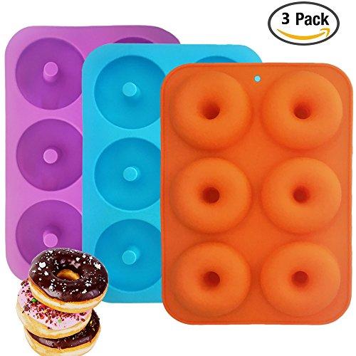 Silikon Donut Formen, IHUIXINHE 3 Pack 6 Hohlraum Non-Stick Full-Sized Safe Baking Donut Form, Maker Pan Hitze Widerstand für Kuchen Biskuit Bagels Muffins